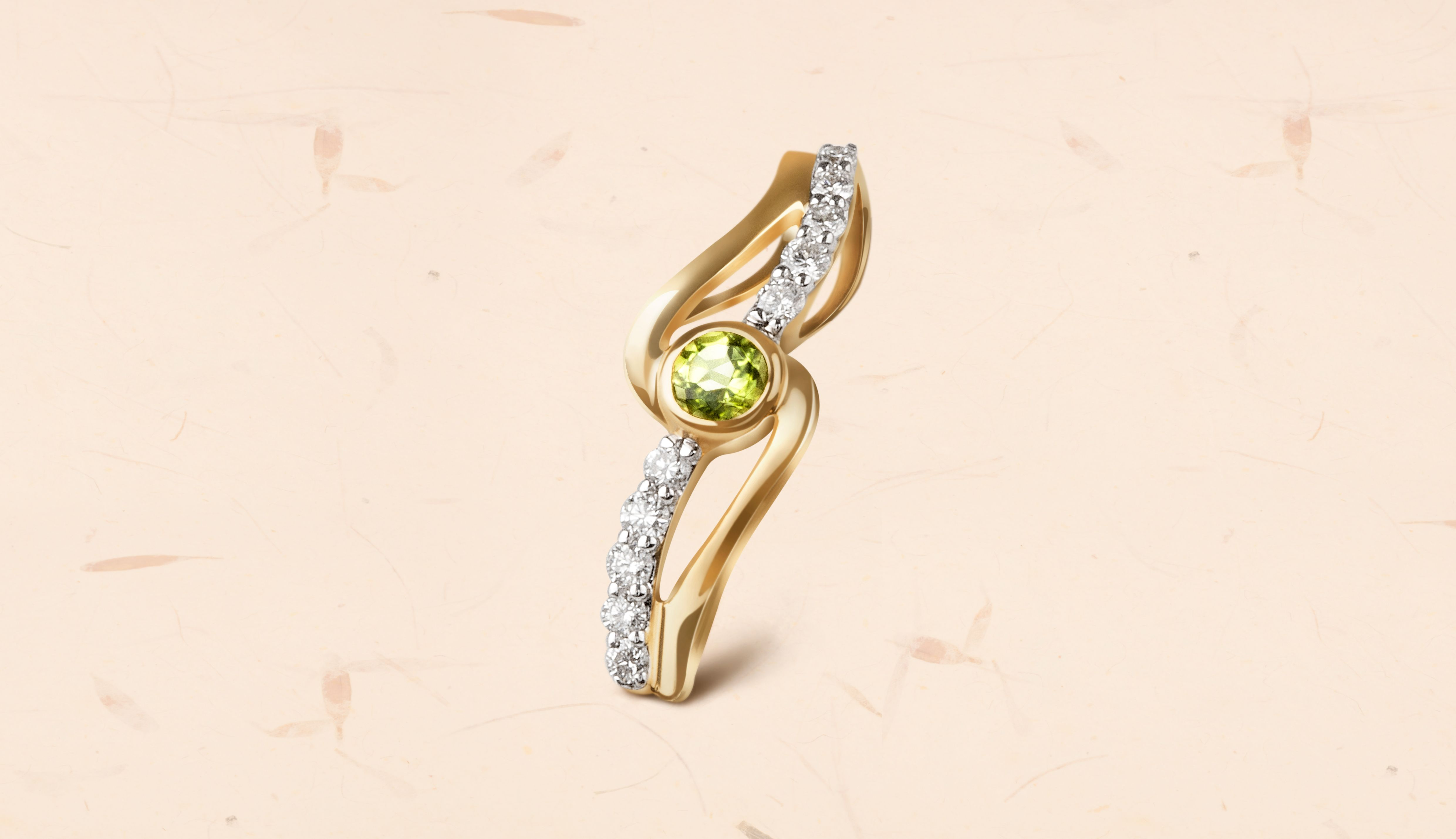 Peridot with its lime green hue adds a touch of subtle elegance to