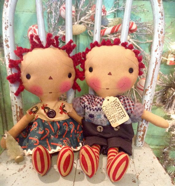 Christmas Sweater raggedy Ann and Andy by oldragdollcupboard
