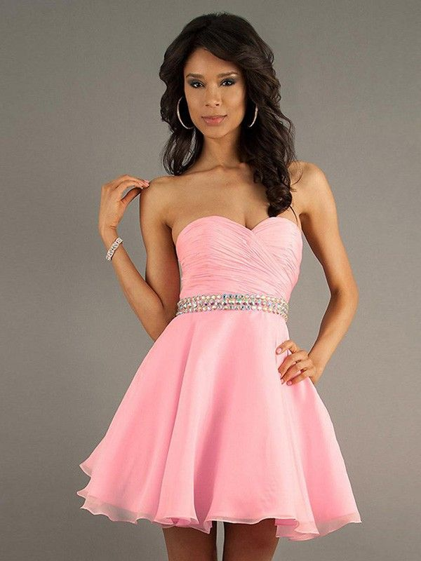A-Line/Princess Sweetheart Sleeveless Pleats Short/Mini Chiffon ...