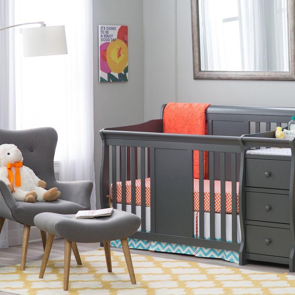 Baby crib changing table set nursery furniture infant toddler bed adjustable