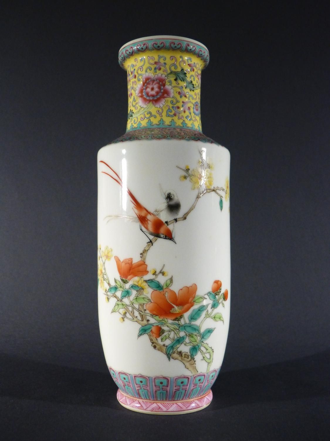 Antique for sale Qing china chinese Qianlong vase birds decoration Shaped piece Ceramic Faïence Porcelain Decorative art