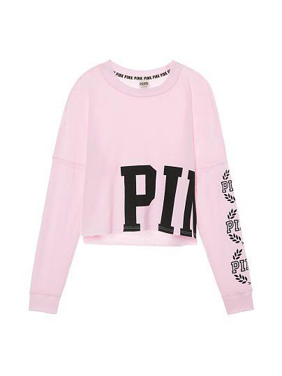 3aa182099aa Cropped Varsity Crew | PINK | Pink, Victoria secret pink, Half shirts