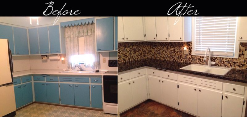 Low budget kitchen makeover Faux granite painted countertops