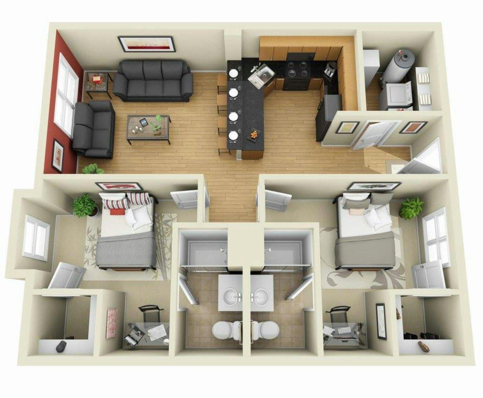 Pinterest claudiagabg apartamento 2 cuartos p l a n for Diseno de apartamento de una habitacion