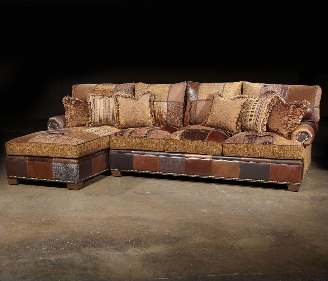 Western style sectional sofas leather