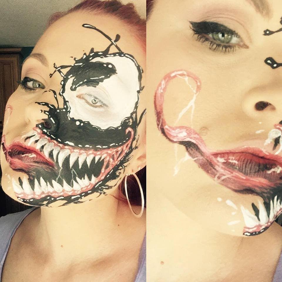 Venom face paint painting marvel teeth grin big mouth spiderman venom face paint painting marvel teeth grin big mouth spiderman special effects fx art draw how baditri Images