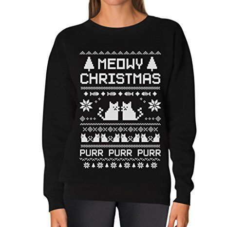 TeeStars - Meowy Christmas Ugly Sweater - Cute Xmas Party Women