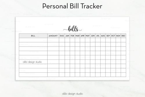 Bill Tracker Personal Planner Printable \u2022 Bill Inserts \u2022 Finance - bill organizer chart