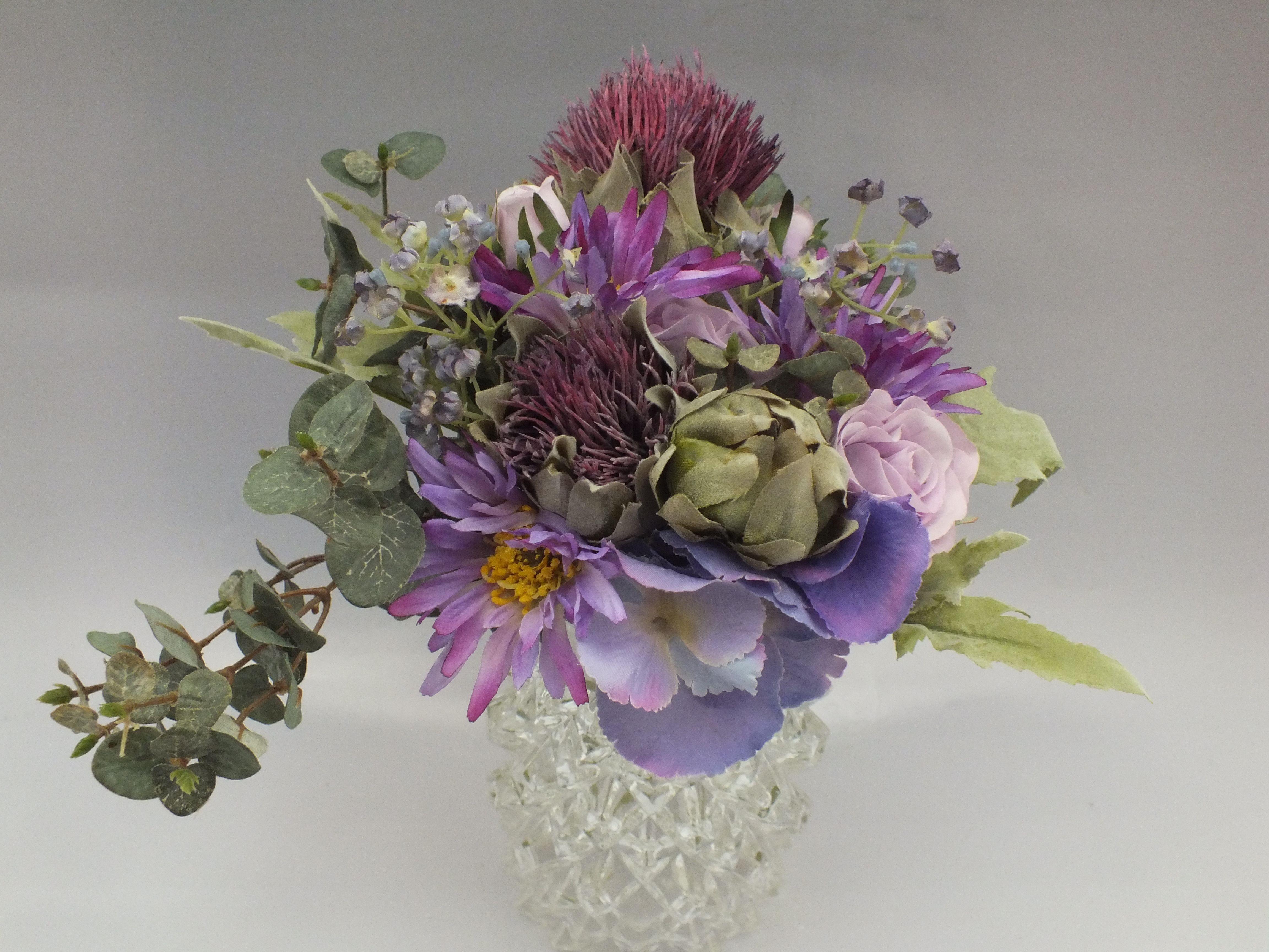 Contemporary wedding bouquet, thistles, daisy, rose, purple, green ...