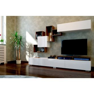 meuble tv avec tag re elit blanc et bois salon pinterest salons. Black Bedroom Furniture Sets. Home Design Ideas
