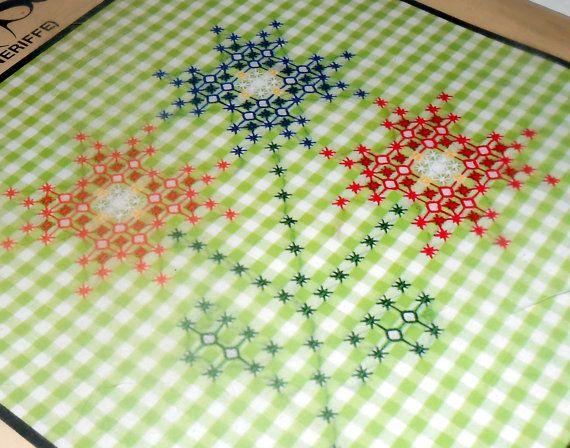Vintage Embroidery Kit, Chicken Scratch Kit, Flowers, Cross Stitch, Craft Supplies, Chicken Scratch, Green, Gingham, Beginner Kit