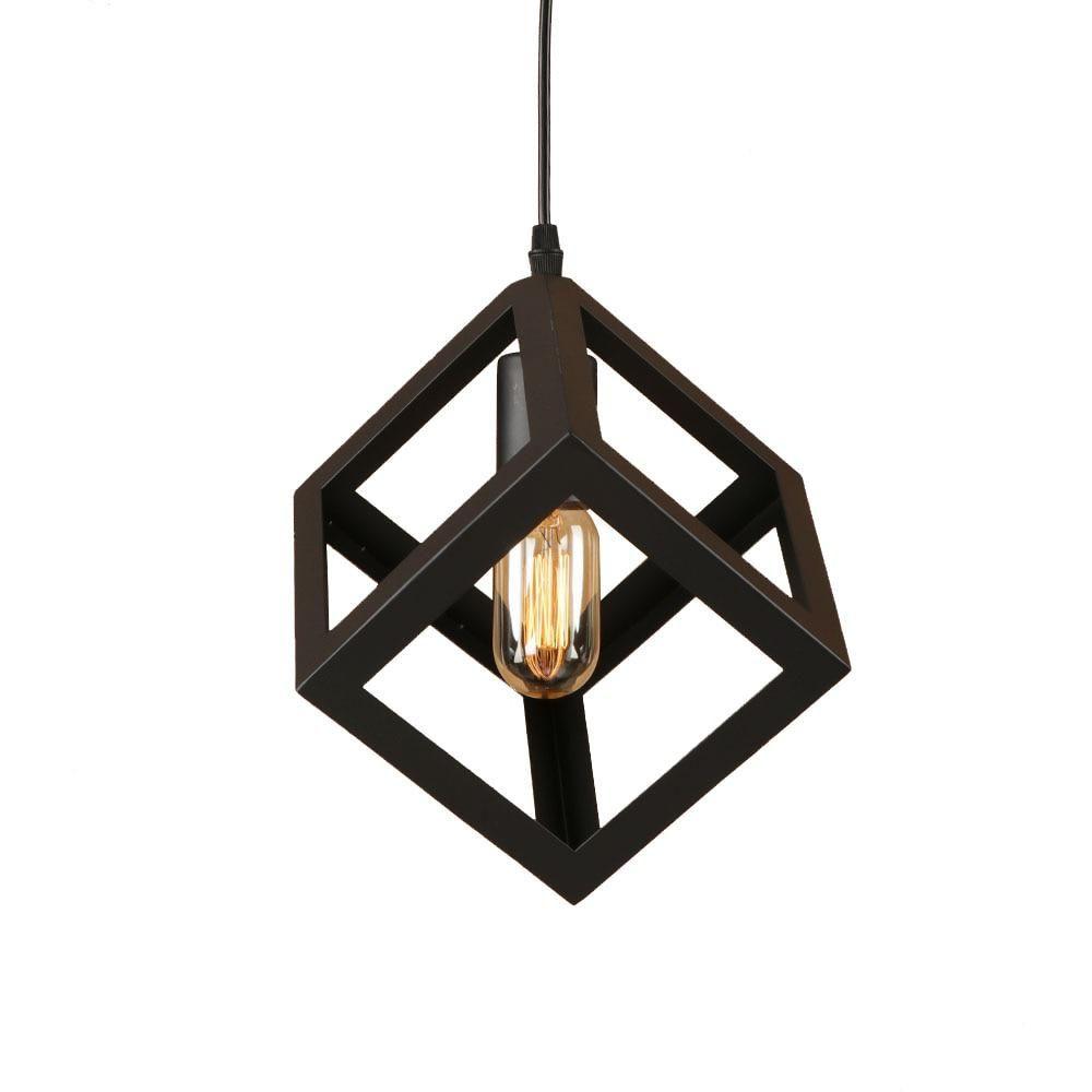 Loft iron black pyramidsquare style pendant lamp adjust