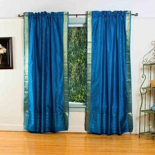 Turquoise 84 Inch Rod Pocket Sheer Sari Curtain Panel India Pair