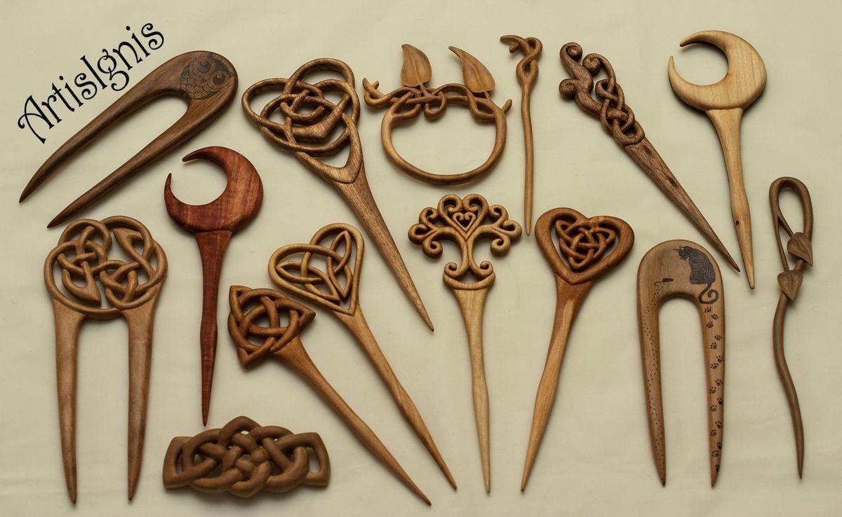 Pic à Cheveux Bois Pique Ethnique Wooden Hair Stick Artisanat  tribal sculpté
