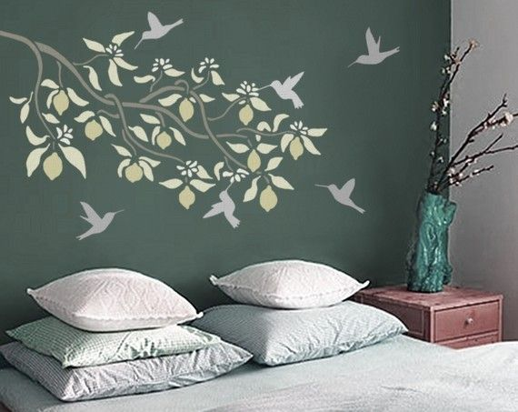 Stencil For Walls  Lemon Tree Branch  Reusable  Diy Stenciling