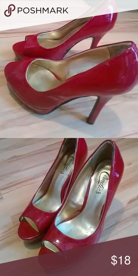 Candies Red Peep Toe Heels Size 6 Worn Once For My Graduation Candie S Shoes Heels Peep Toe Heels Heels Peep Toe