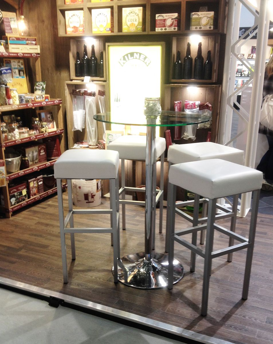 Our Cube Bar Stool White and Como Table shown at an exhibition! Buy now at