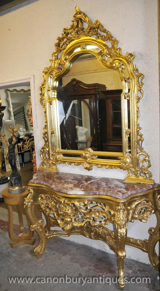 French Louis XV Gilt Console Table Mirror Set Hall Tables & French Louis XV Gilt Console Table Mirror Set Hall Tables | Louis XV ...