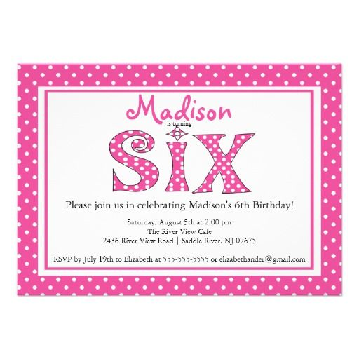 Polka Dot Alphabet Sixth Birthday Party Invitation 6th Birthday