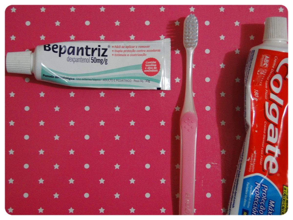 Esfoliação labial - Bepantol + Escova de dente + Pasta de dente