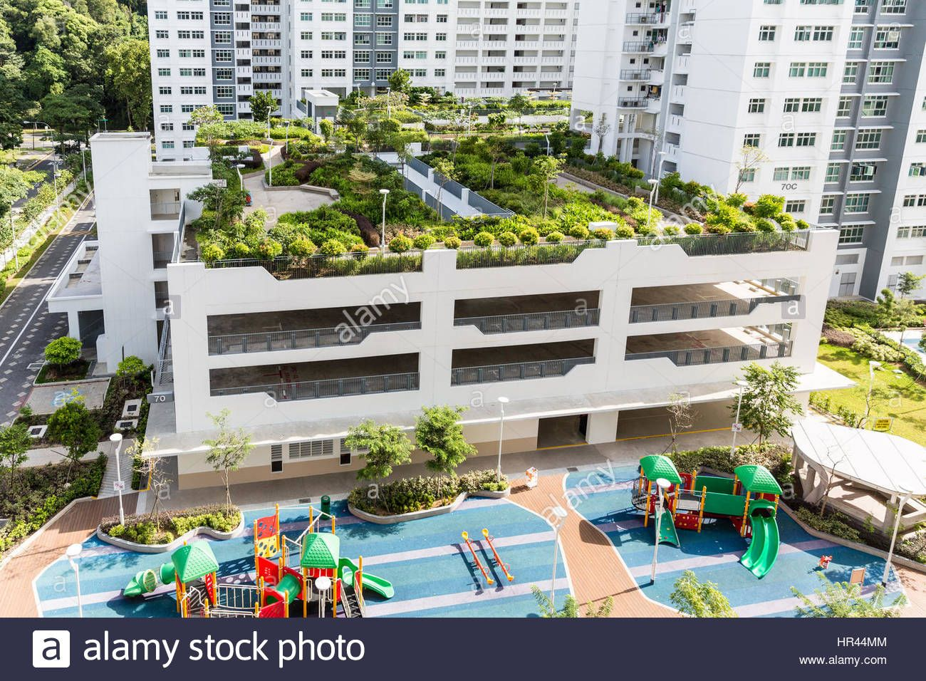 Rooftop Gardens Feature In New Public Hdp Apartments In Singapore Stock Photo Royalty Free In 2020 Garden Features Blue Garden Furniture Cheap Gazebo
