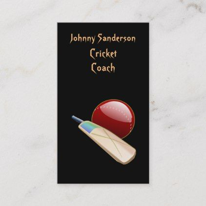 Cricket Sports Coach Promotional Business Card   Zazzle com is part of Sports coach, Cricket (sports), Business cards, Cricket coaching, Coach, Cards - You can easily personalize the front and back text on this cricket coach business card to fit your specific business The front features a cricket ball and bat   The back has all the pertinent information