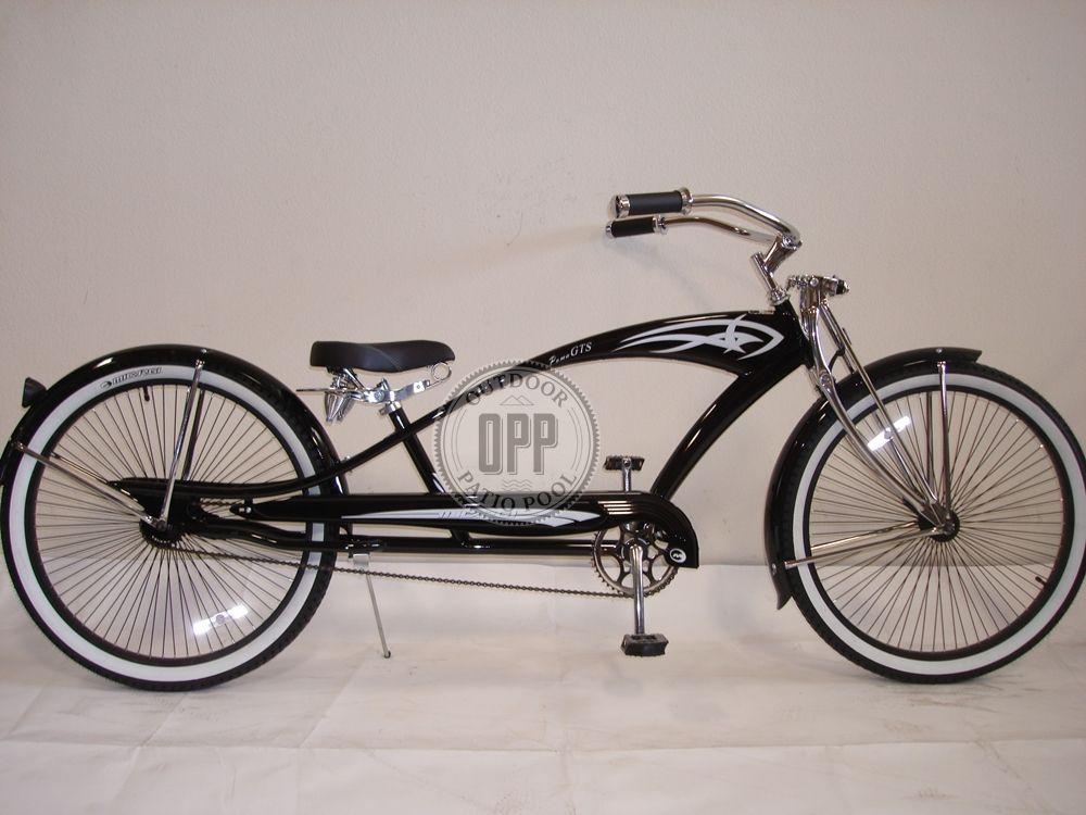 "26/"" Stretch Beach Cruiser Tank Steel Frame Bike Bicycle Micargi Puma Matt Black"