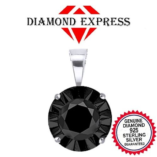 """1/40 ct Black Real Natural Diamond 14K Gold Solitaire Pendant with 18"""" Chain Necklace """""""". Starting at $29"""