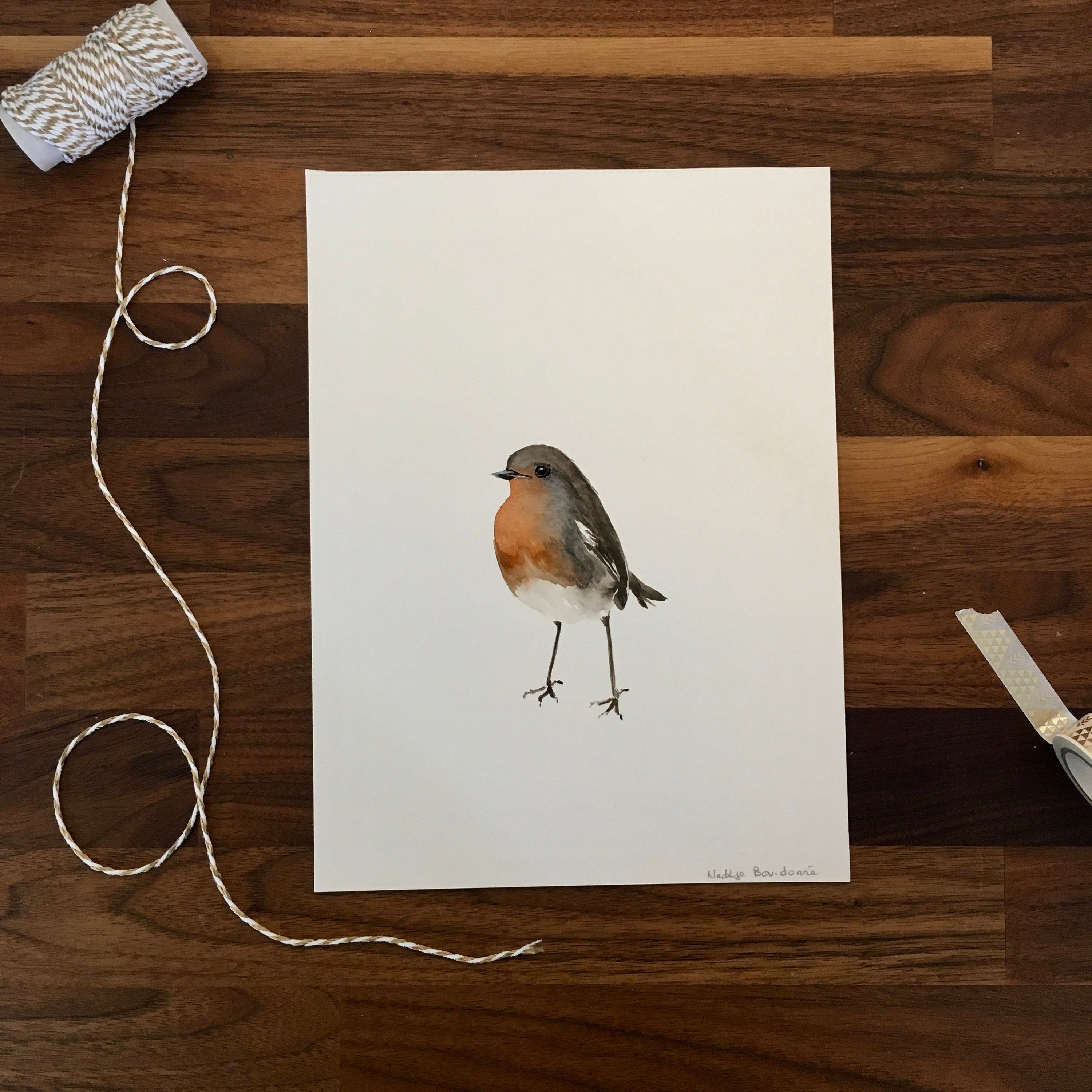 Aquarelle Originale Rouge Gorge Oiseau Du Jardin Illustration