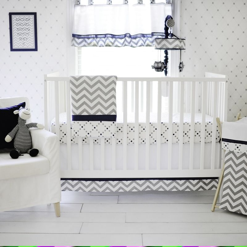 Navy and Gray Baby Bedding, Gray Chevron and Navy Baby Bedding, Baby Bedding Navy and Gray