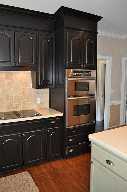 Black kitchen cabinets   wwwfindingfabulousblog/2010/04