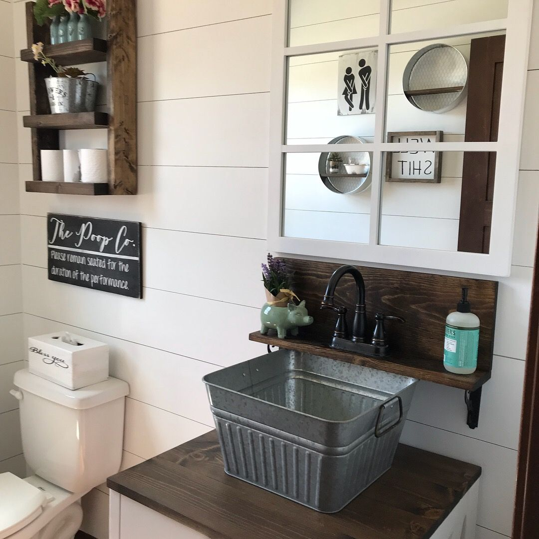 150 Farmhouse Bathroom Remodel Sink Is A Galvanized Bucket From Walmart For 7 98 See More Pictures Diy Sink Vanity Bathroom Vanity Decor Diy Bathroom Remodel