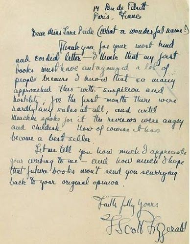 The Great Gatsby Handwritten Letter By F Scott Fitzgerald In His Response To His Fan That Loved The Book Bu Scott Fitzgerald Famous Letters Zelda Fitzgerald