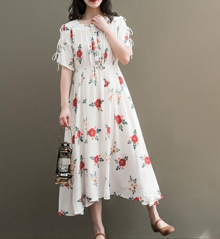 Women Loose Fitting Over Plus Size Retro Red Flower Dress Chiffon Long Tunic Unbranded Dress Casual Wanita Pakaian Pakaian Tidur