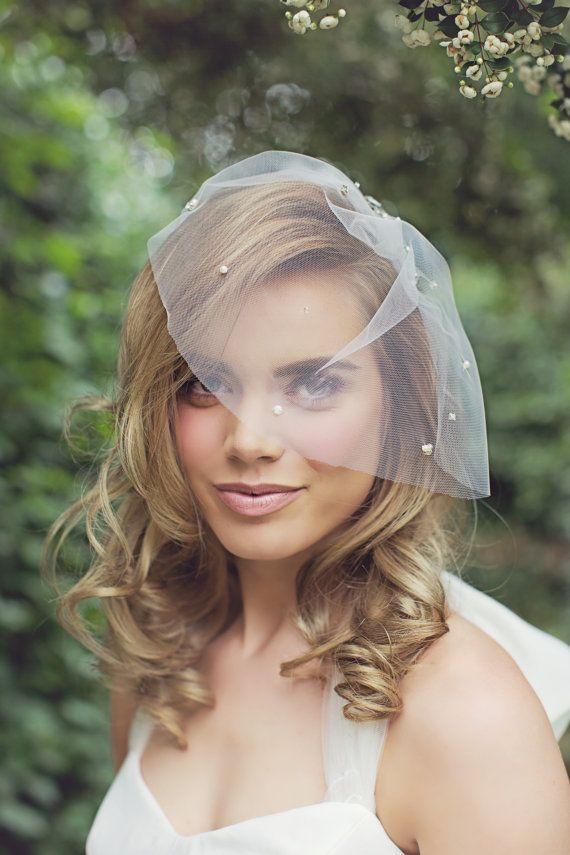 Astor Tulle Crystal Pearl Birdcage Veil By Willowmoone On Etsy 190 00