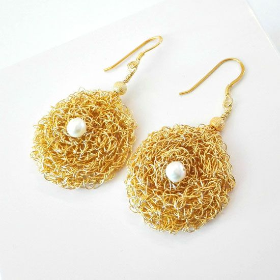HANDMADE EARRINGS PEARL BYZANTINE KNITTED GOLD with Real Pearls 4mm fa70bbc441a