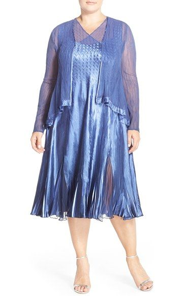 Komarov Sleeveless Charmeuse Dress & Chiffon Jacket (Plus Size ...