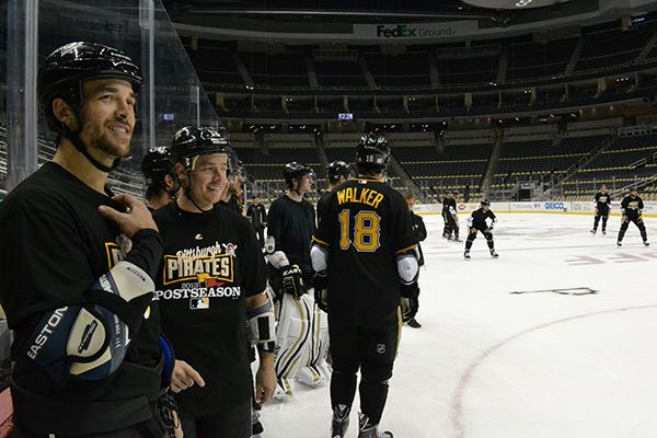 The Pens show their support for the Pirates by wearing jerseys and t-shirts in practice.