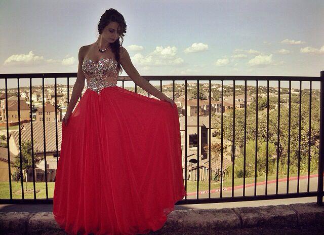Prom dress • wedding • bridesmaid • coral • glass • sparkly • Terani ...