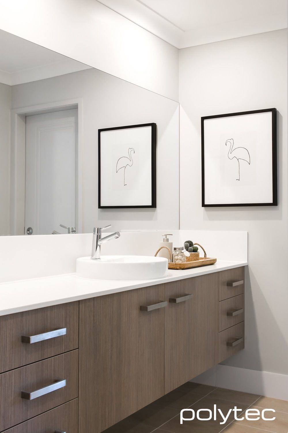 Stylish bathroom vanity in MELAMINE Tessuto Milan Matt. | Baths in ...