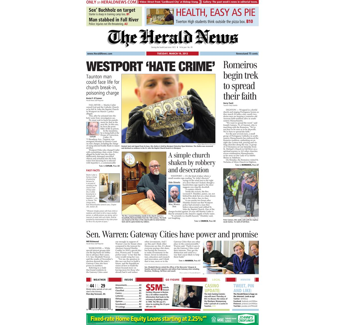 The #frontpage of The Herald News for Tuesday, March 6, 6