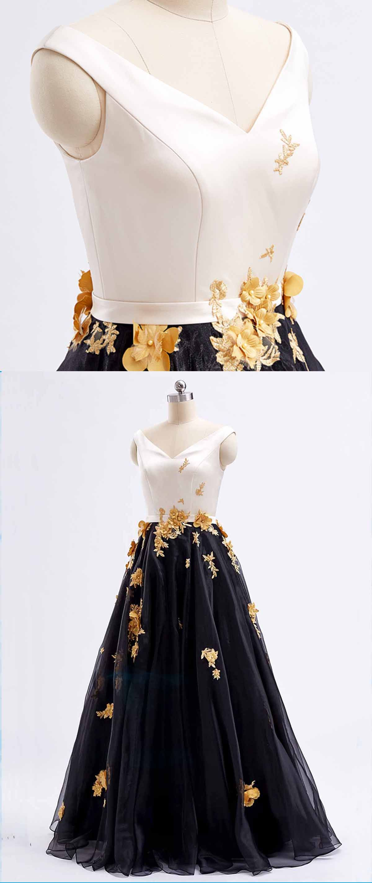 Black tulle v neck long d lace appliques prom dress long black