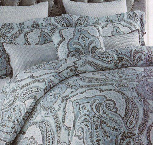 Amazon Com Nicole Miller Home King Cal King Duvet Cover And Shams Set Dark Gray Turquoise Blue Charcoal Grey Tahari Home Luxury Duvet Covers Blue Duvet Cover