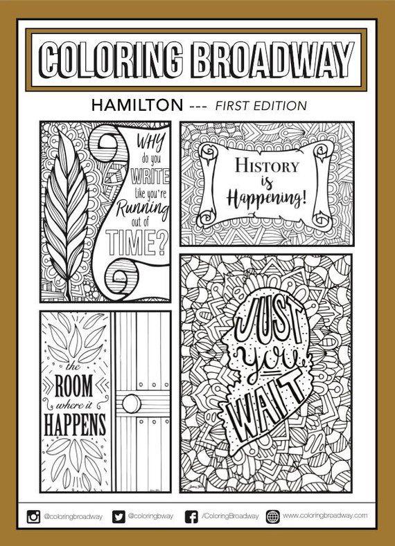 hamilton  set 1 broadway coloring card musical