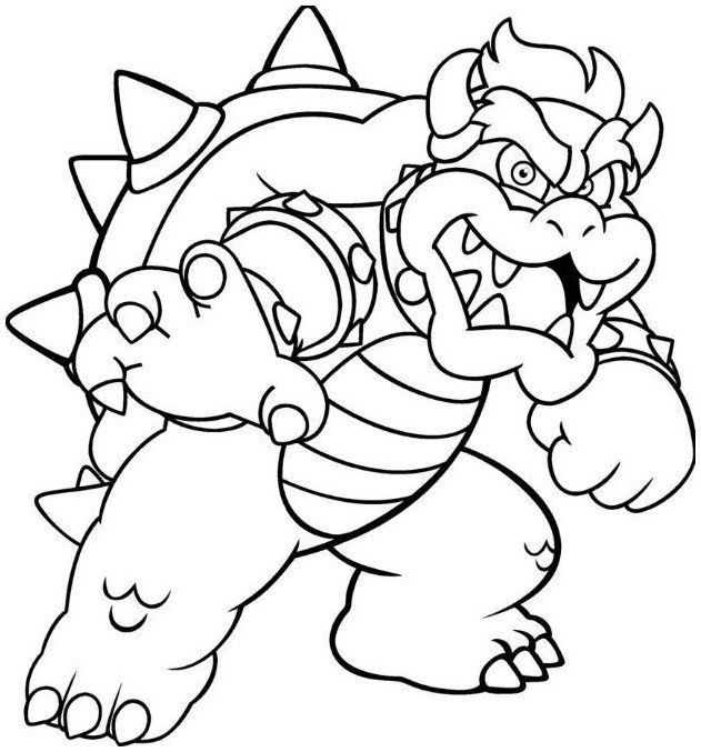 bowser and bowser jr coloring pages | bowser coloring page | Super mario coloring pages, Mario ...