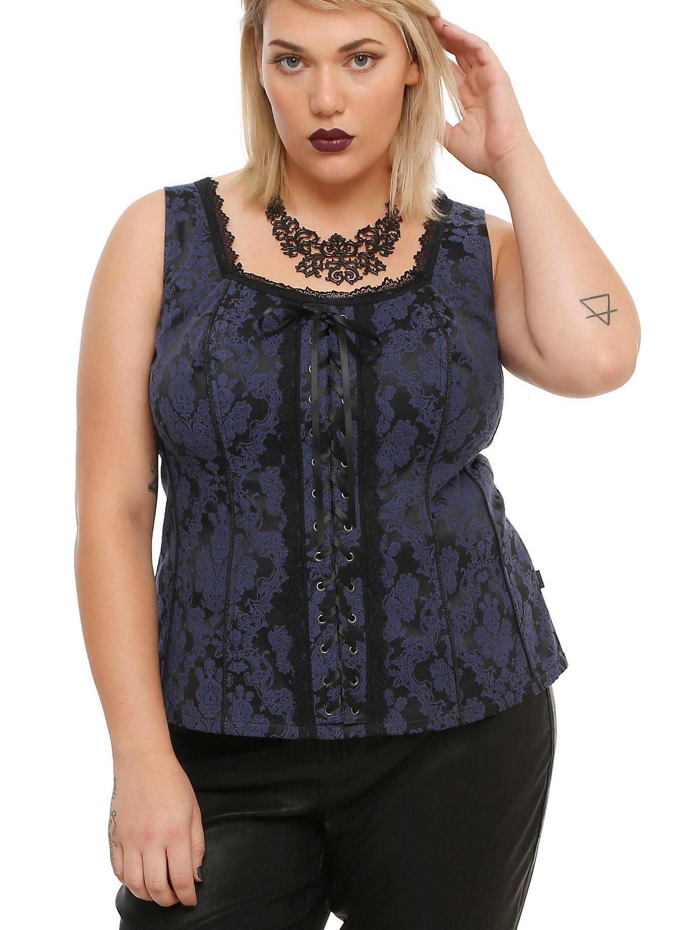 167acdbc53a Tripp Navy   Black Floral Lace-Up Corset Plus Size
