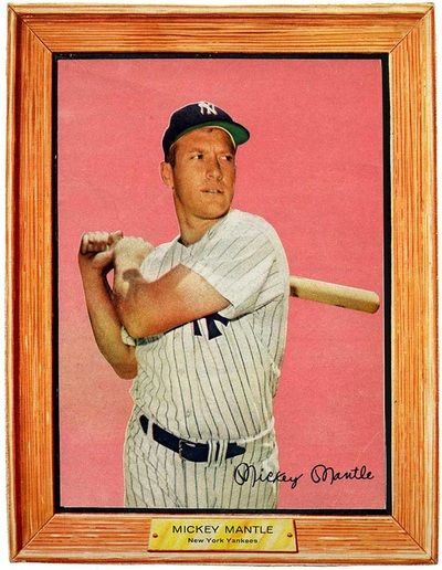 Large Mickey Mantle card on the back of Post  Grape Nut Flakes cereal box in 1960.