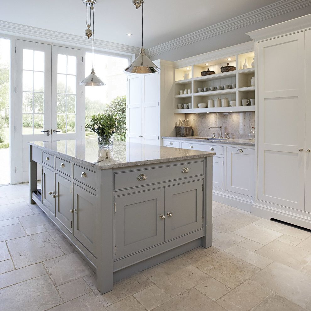 This Bright And Light Shaker Style Kitchen Is Painted In Bespoke Tom Howley Paint Colour Chicory The L Home Kitchens Contemporary Kitchen Grey Kitchen Island