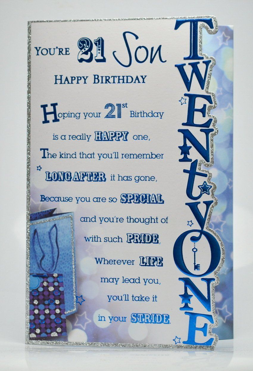 21st Birthday For Son Birthday cards for son, Happy 21st