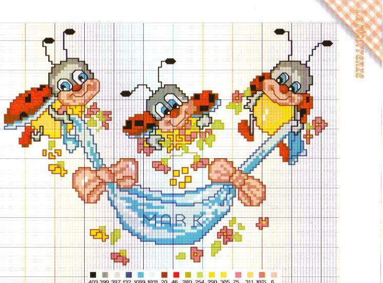Schema punto croce coccinelle bebe cross stitch for Ape punto croce schema